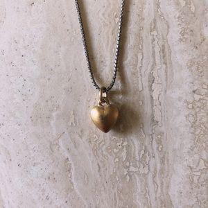 Matte Gold Heart Pendant Choker